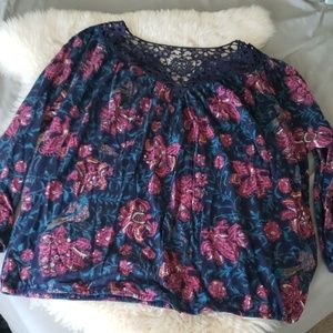 Nwt Lucky brand foray Navy crochet lace top